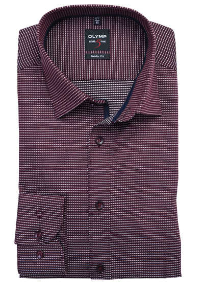 OLYMP Level Five body fit Hemd extra langer Arm Muster rot