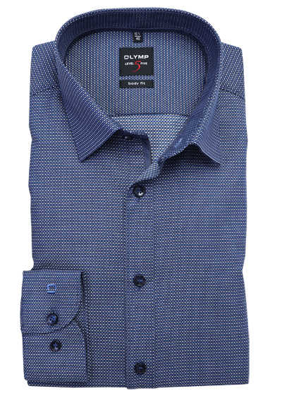 OLYMP Level Five body fit Hemd extra langer Arm Muster blau