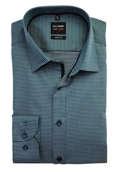 OLYMP Level Five body fit Hemd extra langer Arm Muster grün