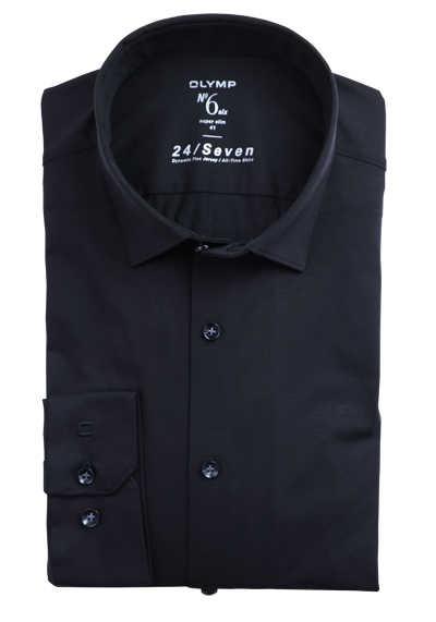 OLYMP No. Six super slim Businesshemd Langarm Haifischkragen Struktur schwarz