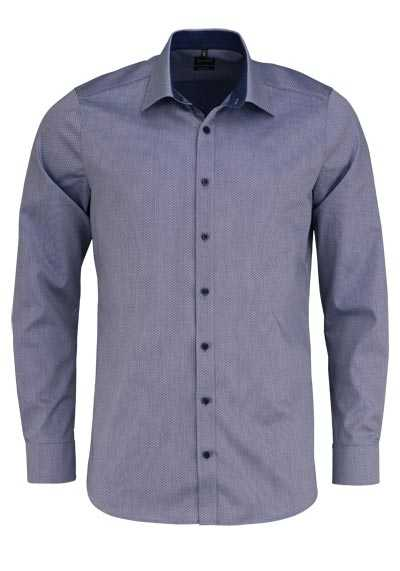 OLYMP Level Five body fit Hemd extra langer Arm Stretch Muster dunkelblau - Hemden Meister