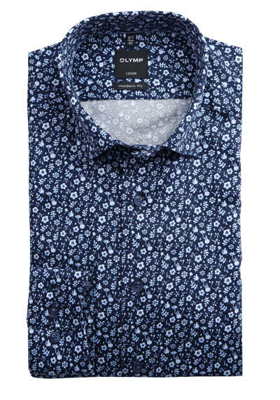 OLYMP Luxor modern fit Herrenhemd extra langer Arm Under-Button-Down Kragen Muster blau