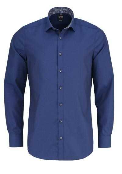 OLYMP Level Five body fit Hemd extra langer Arm Muster dunkelblau - Hemden Meister