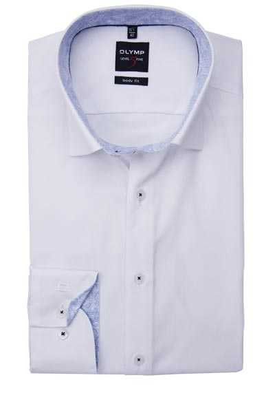 OLYMP Level Five body fit Hemd extra langer Arm Under-Button-Down weiß