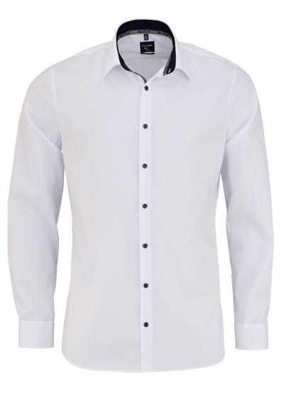 OLYMP No. Six super slim Hemd Langarm Stretch bügelleicht weiß - Hemden Meister