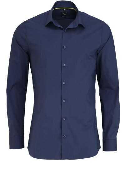 OLYMP No. Six super slim Hemd Langarm Stretch bügelleicht nachtblau - Hemden Meister