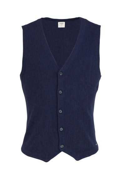 OLYMP Level Five Strickweste body fit geknöpft dunkelblau - Hemden Meister