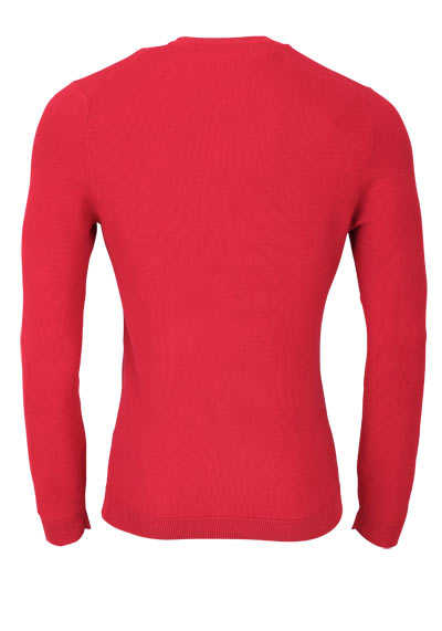 OLYMP Level Five Strick body fit Pullover Rundhals mittelrot