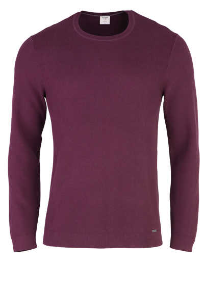 OLYMP Level Five Strick body fit Pullover Rundhals weinrot - Hemden Meister