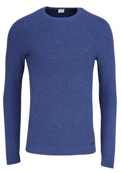 OLYMP Level Five Strick body fit Pullover Rundhals dunkelblau - Hemden Meister