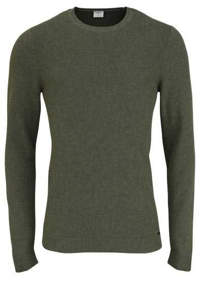 OLYMP Level Five Strick body fit Pullover Rundhals oliv - Hemden Meister
