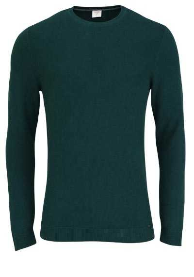 OLYMP Level Five Strick body fit Pullover Rundhals dunkelgrün - Hemden Meister