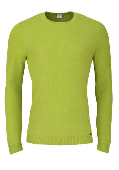 OLYMP Level Five Strick body fit Pullover Rundhals limone - Hemden Meister