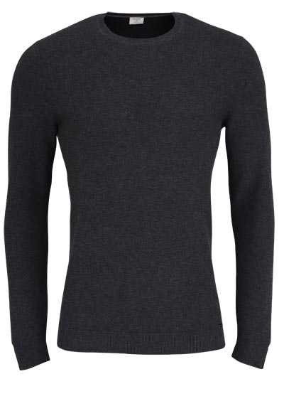 OLYMP Level Five Strick body fit Pullover Rundhals anthrazit - Hemden Meister