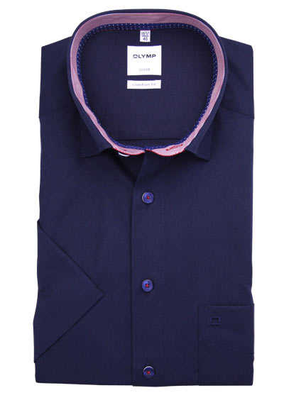 OLYMP Luxor comfort fit Hemd Halbarm Under Button Down Kragen blau
