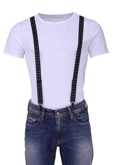 OLYMP Hosenträger 2,5 cm breit 3 Clip Stretch Muster schwarz - Hemden Meister