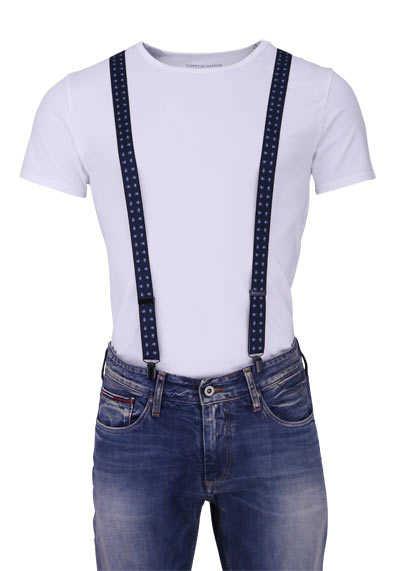 OLYMP Hosenträger 2,5 cm breit 3 Clip Stretch Muster dunkelblau - Hemden Meister