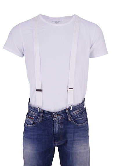 OLYMP Hosenträger 3 cm breit 3 Clip Seide Paisleymuster weiß - Hemden Meister
