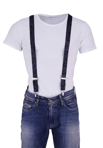 OLYMP Hosenträger 3 cm breit 3 Clip Seide Paisleymuster schwarz - Hemden Meister