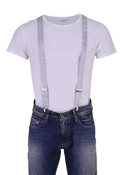 OLYMP Hosenträger 3 cm breit 3 Clip Seide Paisleymuster grau - Hemden Meister