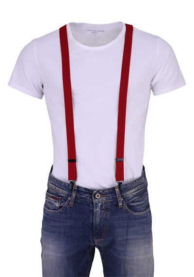 OLYMP Hosenträger 2,5 cm breit 3 Clip Stretch rot - Hemden Meister