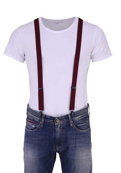 OLYMP Hosenträger 2,5 cm breit 3 Clip Stretch dunkelrot - Hemden Meister