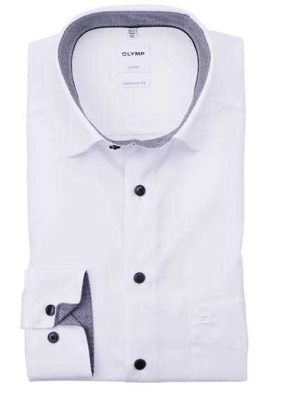 OLYMP Luxor comfort fit Hemd Langarm Under Button Down Kragen weiß