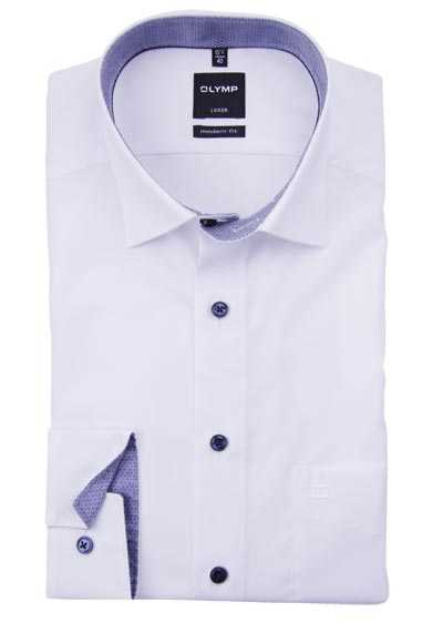 OLYMP Luxor modern fit Hemd Langarm Under Button Down Kragen weiß