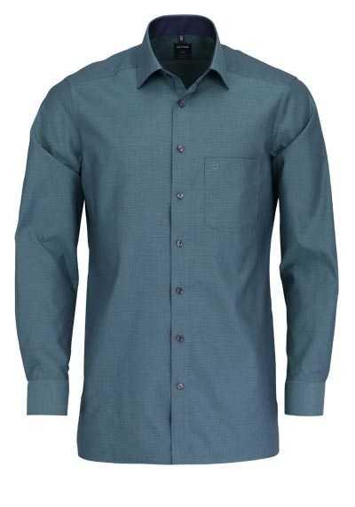 OLYMP Luxor modern fit Hemd extra langer Arm Muster grün - Hemden Meister