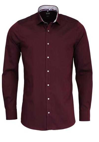 OLYMP Level Five body fit Hemd extra langer Arm Muster dunkelrot - Hemden Meister