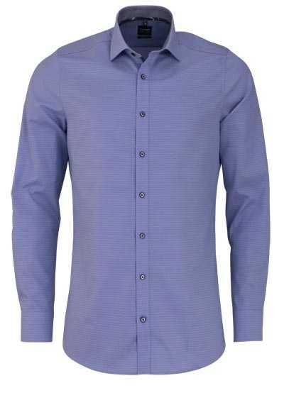 OLYMP Level Five body fit Hemd extra langer Arm Muster hellblau - Hemden Meister
