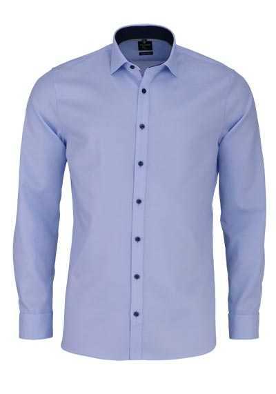 OLYMP No. Six super slim Hemd extra langer Arm Struktur blau - Hemden Meister