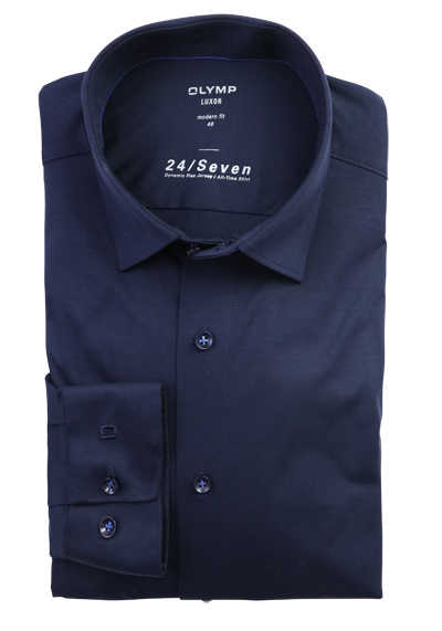 OLYMP Luxor modern fit 24/Seven Hemd Langarm Jersey Stretch blau