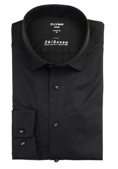 OLYMP Luxor modern fit 24/Seven Hemd Langarm Jersey Stretch schwarz