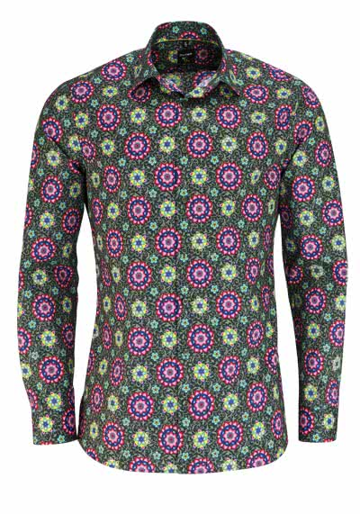 OLYMP No. Six super slim Hemd Langarm Muster dunkelgrün - Hemden Meister