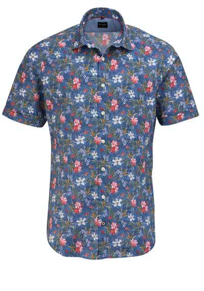 OLYMP Casual Hemd Halbarm New Kent Kragen Blumen Print blau - Hemden Meister