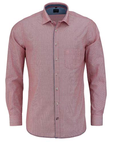 OLYMP Casual Hemd Langarm New Kent Kragen Streifen rot - Hemden Meister