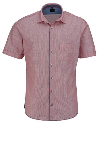 OLYMP Casual Hemd Halbarm New Kent Kragen Streifen rot - Hemden Meister