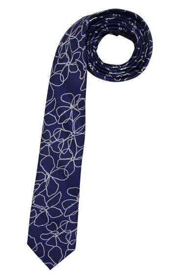 OLYMP Krawatte slim aus reiner Seide mit Nano-Effekt Muster blau - Hemden Meister