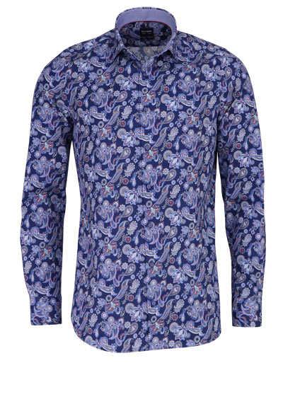 OLYMP Level Five body fit Hemd extra langer Arm Muster blau - Hemden Meister