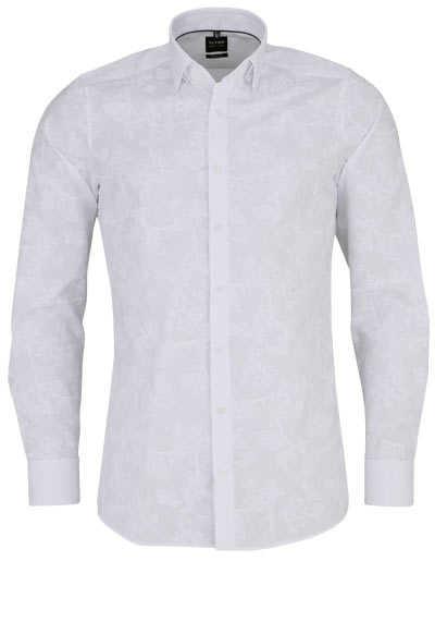 OLYMP Level Five body fit Hemd extra langer Arm Muster weiß - Hemden Meister