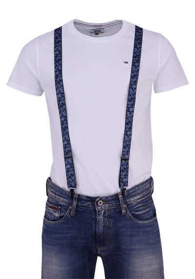 OLYMP Hosenträger 2,5 cm breit 3 Clip Stretch Muster blau - Hemden Meister