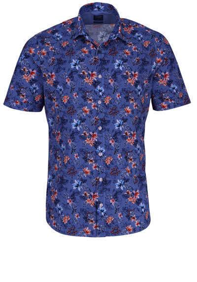 OLYMP Casual modern fit Hemd Halbarm New Kent Kragen Karo blau - Hemden Meister