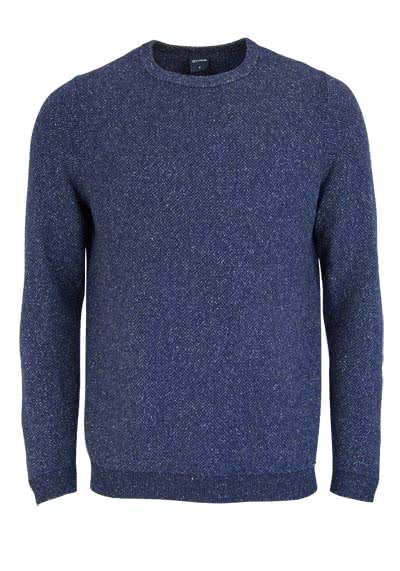 OLYMP Strick Pullover Rundhals Langarm Muster dunkelblau - Hemden Meister