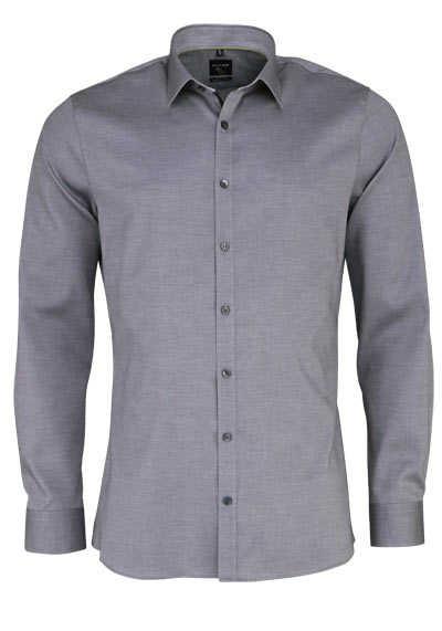 OLYMP No. Six super slim Hemd extra langer Arm Struktur mittelgrau - Hemden Meister
