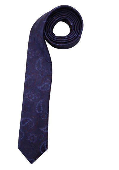 OLYMP Krawatte slim aus reiner Seide mit Fleckschutz Muster blau - Hemden Meister