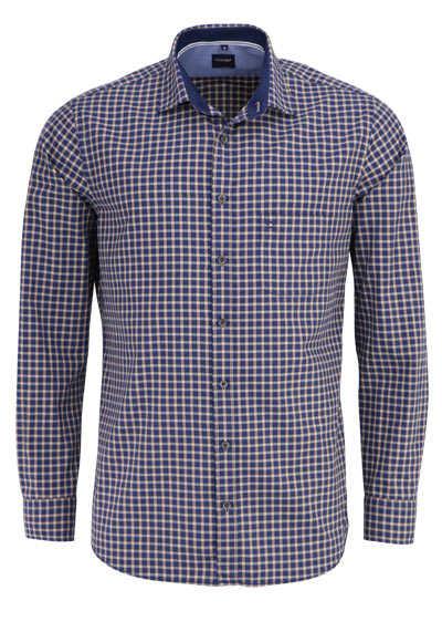 OLYMP Casual modern fit Hemd Langarm New Kent Kragen Karo nachtblau - Hemden Meister