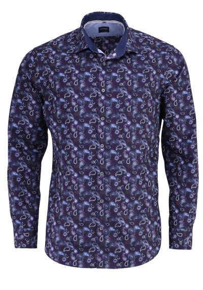 OLYMP Casual modern fit Hemd Langarm New Kent Kragen Muster nachtblau - Hemden Meister