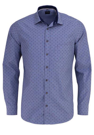 OLYMP Casual modern fit Hemd Langarm New Kent Kragen Muster rauchblau - Hemden Meister