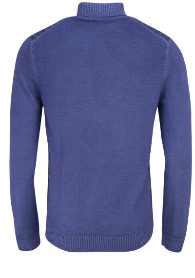 OLYMP Level Five Strick body fit Pullover Rollkragen Struktur blau